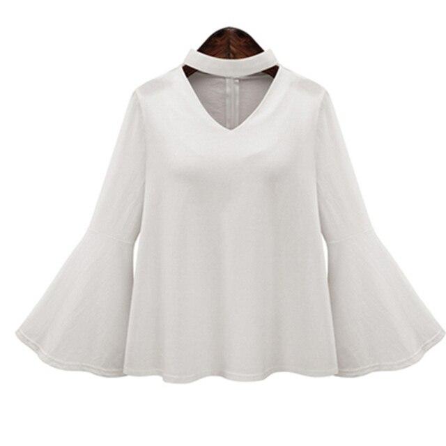 bdf3af2f Fashion Chiffon Blouse Sexy White V-neck Shirt Spring Summer Women Blouses  Long Sleeve Shirt Feminine Butterfly Sleeve Shirts