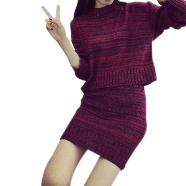 Women Clothing Sweater And Skirt Set Warm Tops+Short Skirts Europe Slim Knitted Suit Twinset Chic