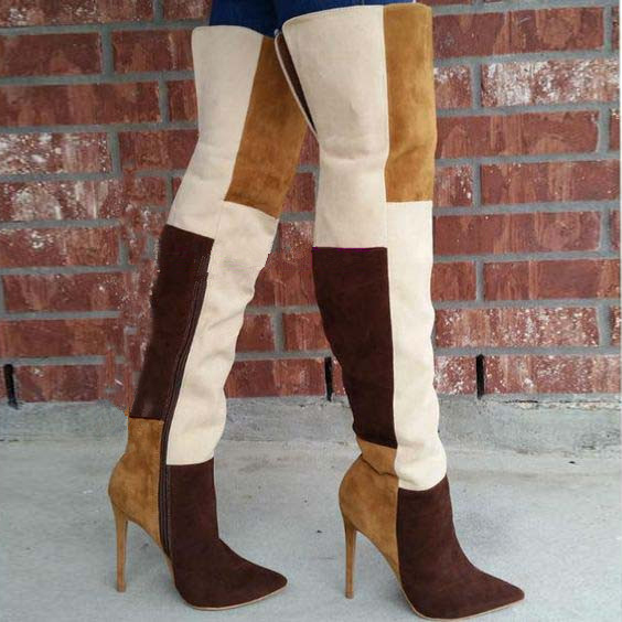 Botas Mujer Mixed Color Patchwork Suede Thigh High Boots Pointed Toe Over The Knee Boots Nightclub Style High Heels Women Boots