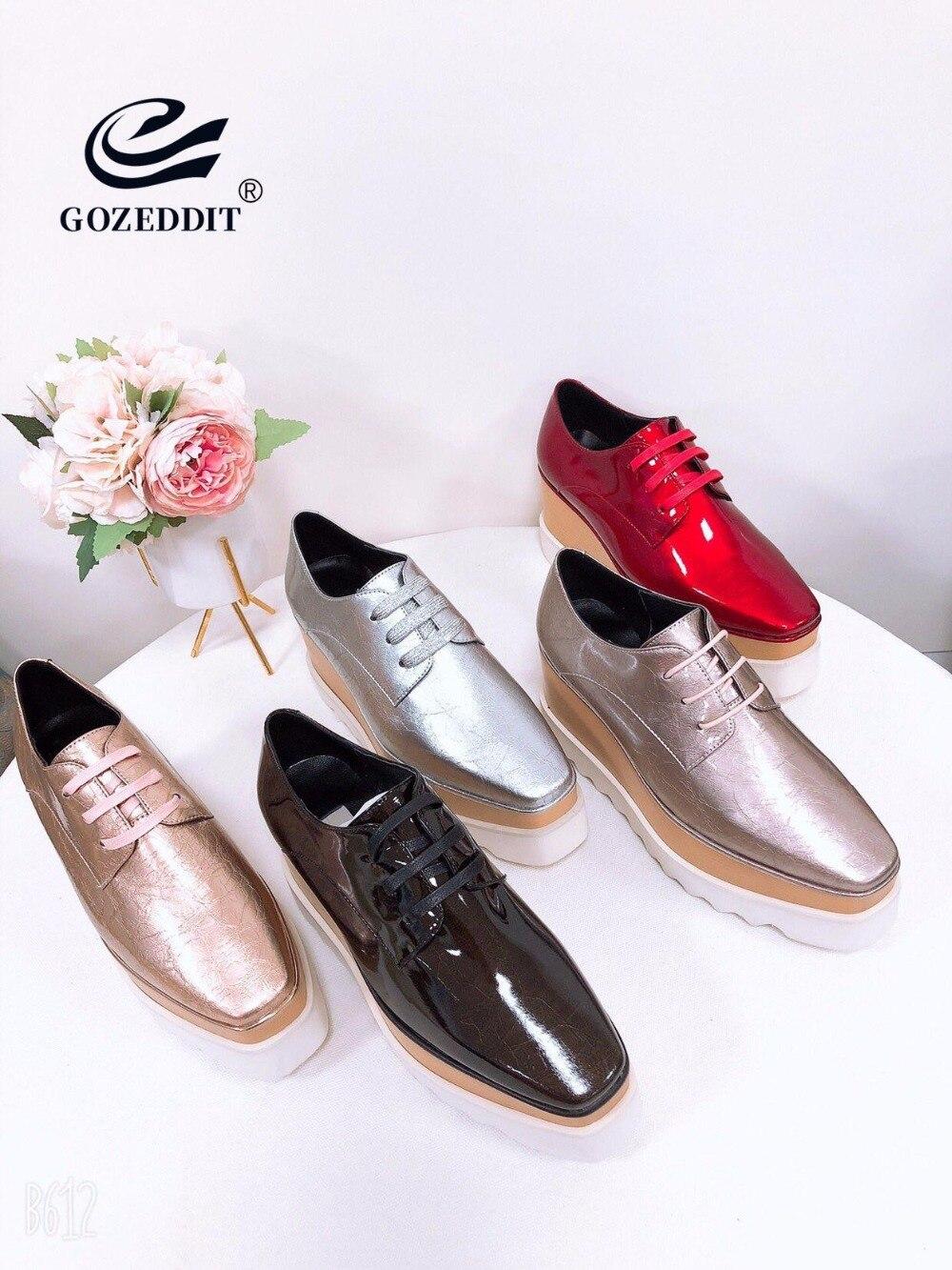 GOZEDDIT mode chaussures à semelles compensées en cuir à lacets baskets femmes chaussures décontractées 8 cm talons