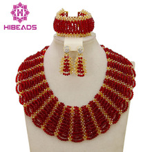 2016 Fashionable Nigerian Wedding African Beads Jewelry Sets Costume Indian Bridal Necklace Jewelry Set Free Shipping
