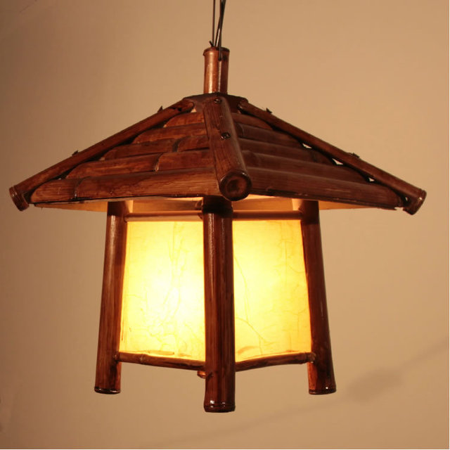 natural Southeast Asia Bamboo House Pendant Lights Stair Case Haning Lights Dining Room Corridor Hallway Ceiling Pendant Lamps
