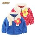 Retail Winter Children's Clothing Kids Outerwear Baby Tops Girls Fashion Dot Fleece Collar Cute Big Flower Zipper Princess Coat