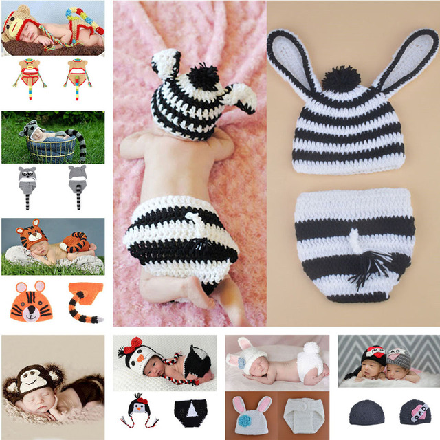 4e61c41fd4c9 2016 Newborn Baby Animal Outfits Crochet Baby zebra Hat Diaper Set Knitted Infant  Baby Costume Photography Props MZS-15080-J