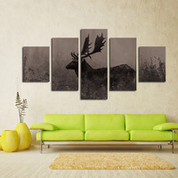 Free shipping 5 panel large HD printed oil painting reindeer canvas print art home decor wall art picture for living room