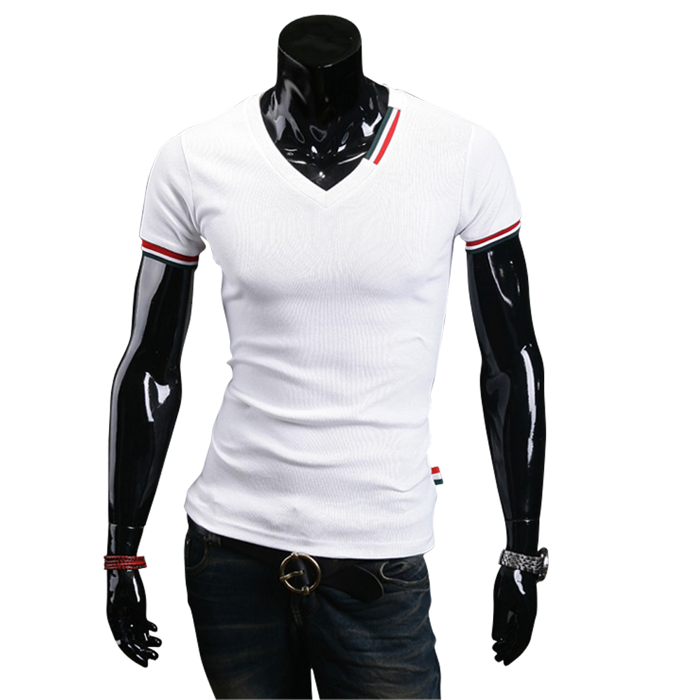 Top Sell Fashion Men's T-Shirt Casual Summer Short Sleeve Solid Color T Shirt  V Neck Slim Type Stylish Male Tops Streetwear LB