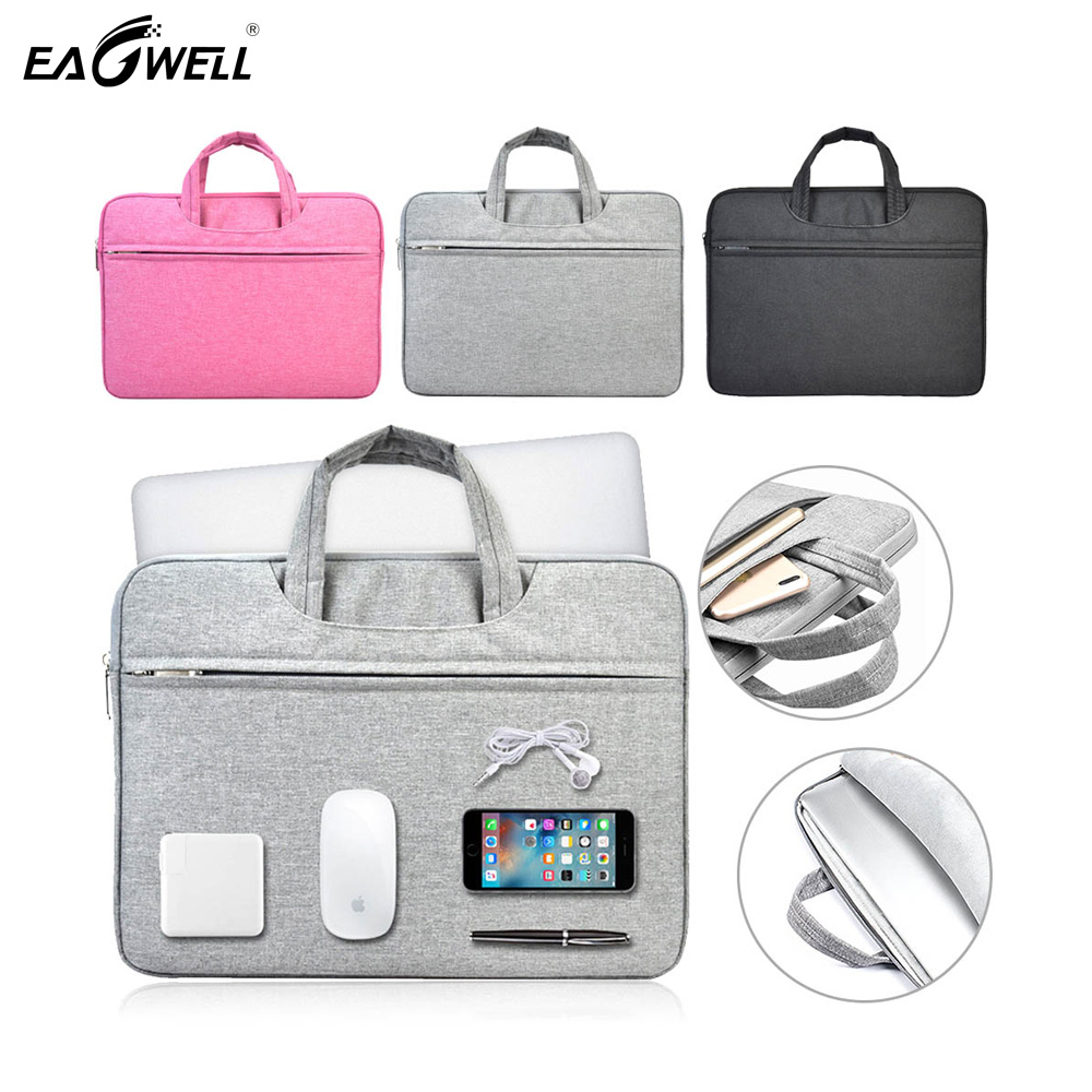 Nylon Laptop Sleeve Bag Case For Macbook Air Pro 13 15 <font><b>15.6</b></font> Large Capacity Solid <font><b>Notebook</b></font> <font><b>Pouch</b></font> Bag For 13