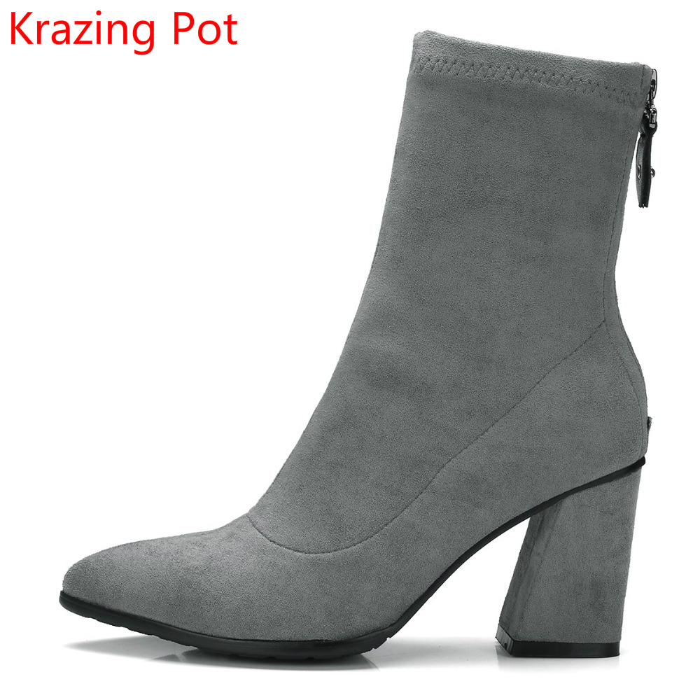 2018 New Arrivel Zipper Classic Thick High Heels Pointed Toe Fashion Chelsea Boots Winter Shoe Solid Mild Calf Stretch Boots L27