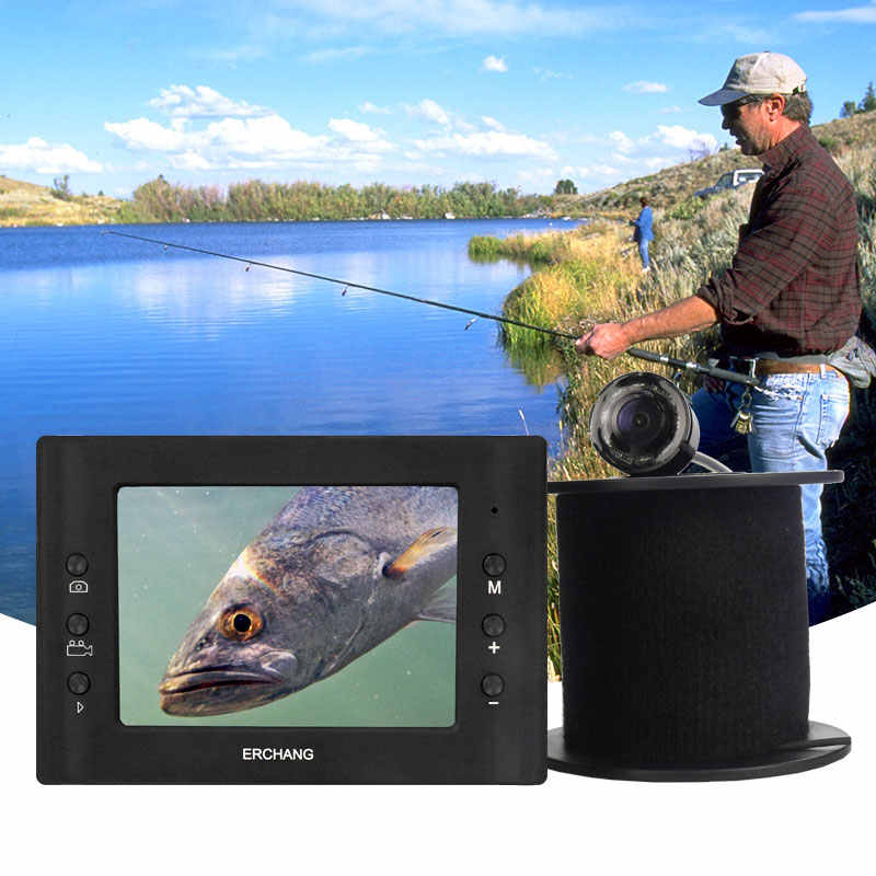 Erchang 15M Cable Camera Fish Finder Infrared LED 3.5''Monitor HD 1000TVL Underwater Camera For Ice Fishing in English Russian