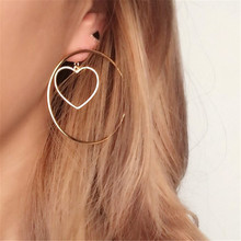 2017 free shipping fashion women New Jewelry wholesale Minimal engraved love earrings Girl party gift Gold earrings
