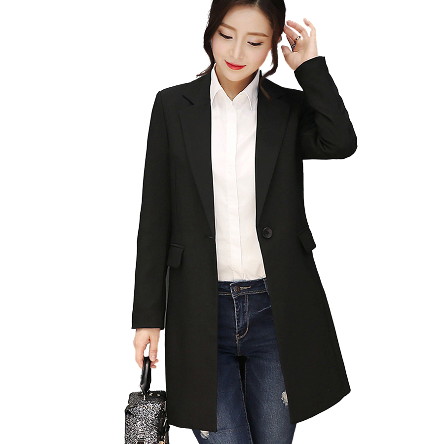 Long Black Suit Jacket Women Slim Fit Casual Blazer Female ...