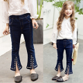 New Arrival 2017 Spring Girls Boot Cut Pants Children's Slim Elastic Jeans Trousers Kids Bell-Bottoms Waist Denim Trousers