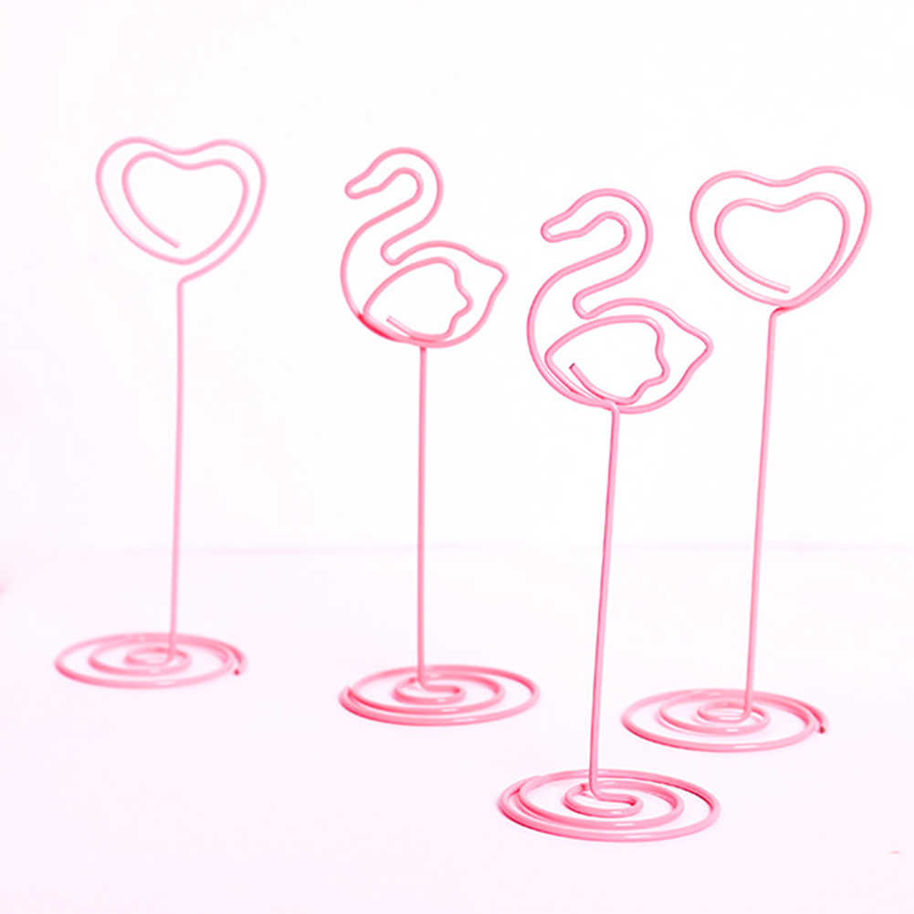 Lindo Kawaii Clips de papel rosa boda lugar tarjetero romántico corazón flamenco foto Clip Mesa número soporte