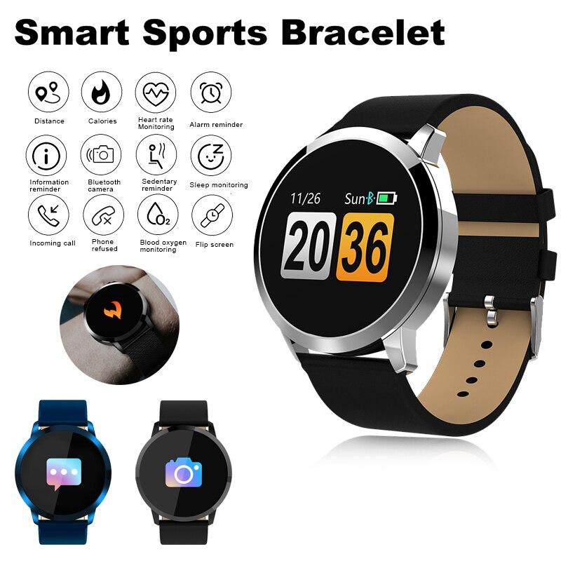Q8 montre intelligente mode couleur écran hommes reloj sang oxygène sommeil moniteur de fréquence cardiaque Bluetooth Smartwatch relogio inteligente