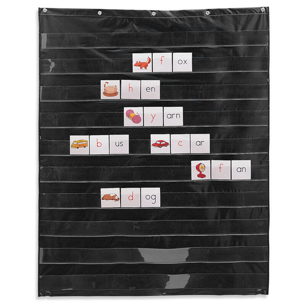 10 Giant Learning Resources Insert Card Pocket Chart Foldable Display Organization Teaching Scheduling Easy Mounting Transparent