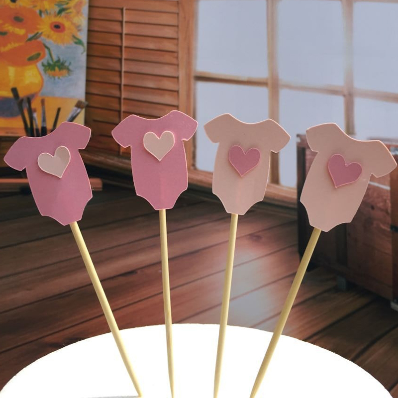 Baby boy girl clothes cupcake topper picks for kids for Baby shower cupcake picks decoration