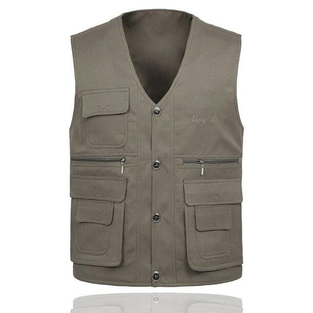 Mens Casual Vests Spring Autumn Reversible Waistcoat Safari Shooting Photographer Vest Jacket Many Pockets Big Size New Brand