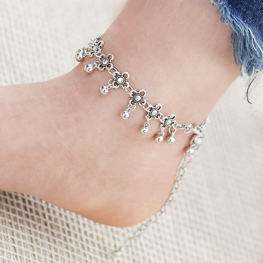 IF ME Boho Bohemia Alloy Chain Link Anklet Flower Pendant Summer Beach Ankles Foot Bracelet New Fashion Foot Jewelry For Women 3