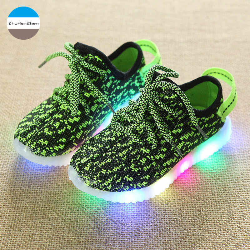 2019 LED אורות ילדים סניקרס תינוק בנים ובנות אופנה נעלי זוהר ילדי נעליים יומיומיות לנשימה יילוד רך תחתון