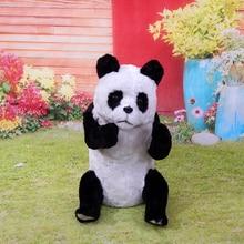 plastic&furs sitting pose giant panda model about 32x20cm artificial panda handicraft prop home garden decoration gift d2357