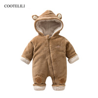 COOTELILI Newborn Baby Clothes Christmas Clothes Winter Warm Clothing For Infant Fleece Baby Girls Rompers Snow Jumpsuit 66 80