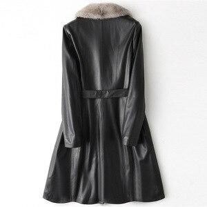 Image 2 - 2018 nouvelle mode véritable manteau en cuir de mouton H51