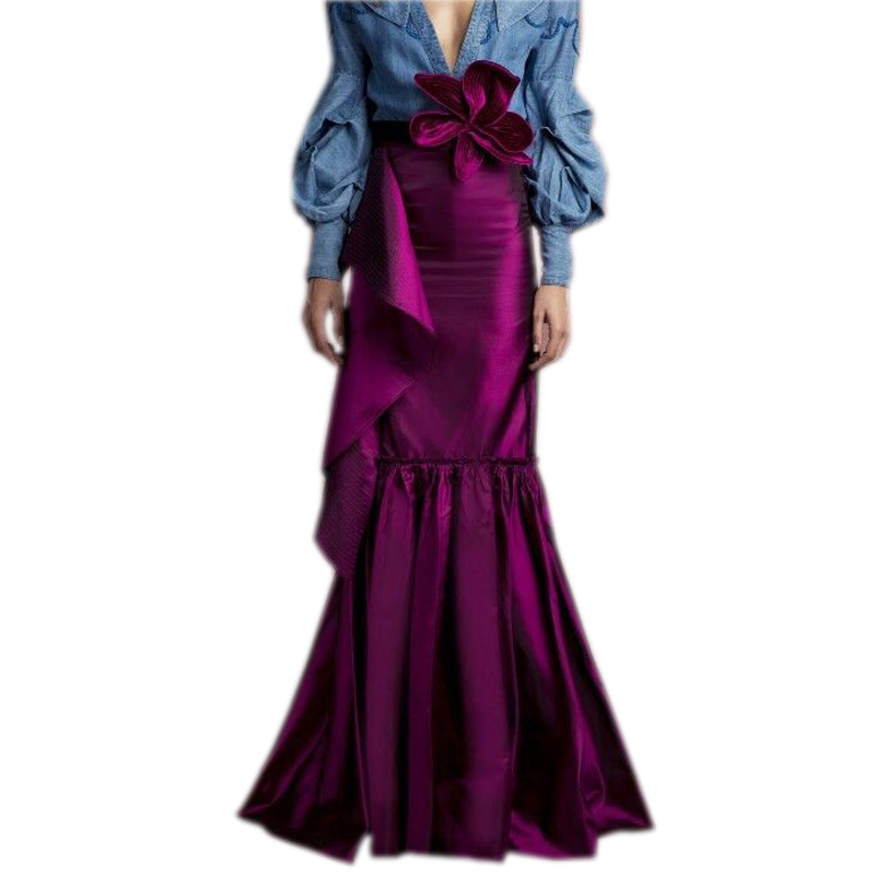 Dark Plum Color Mermaid Taffeta Skirts With Flower On Waist Ruffles Zipper Long Women Skirts For
