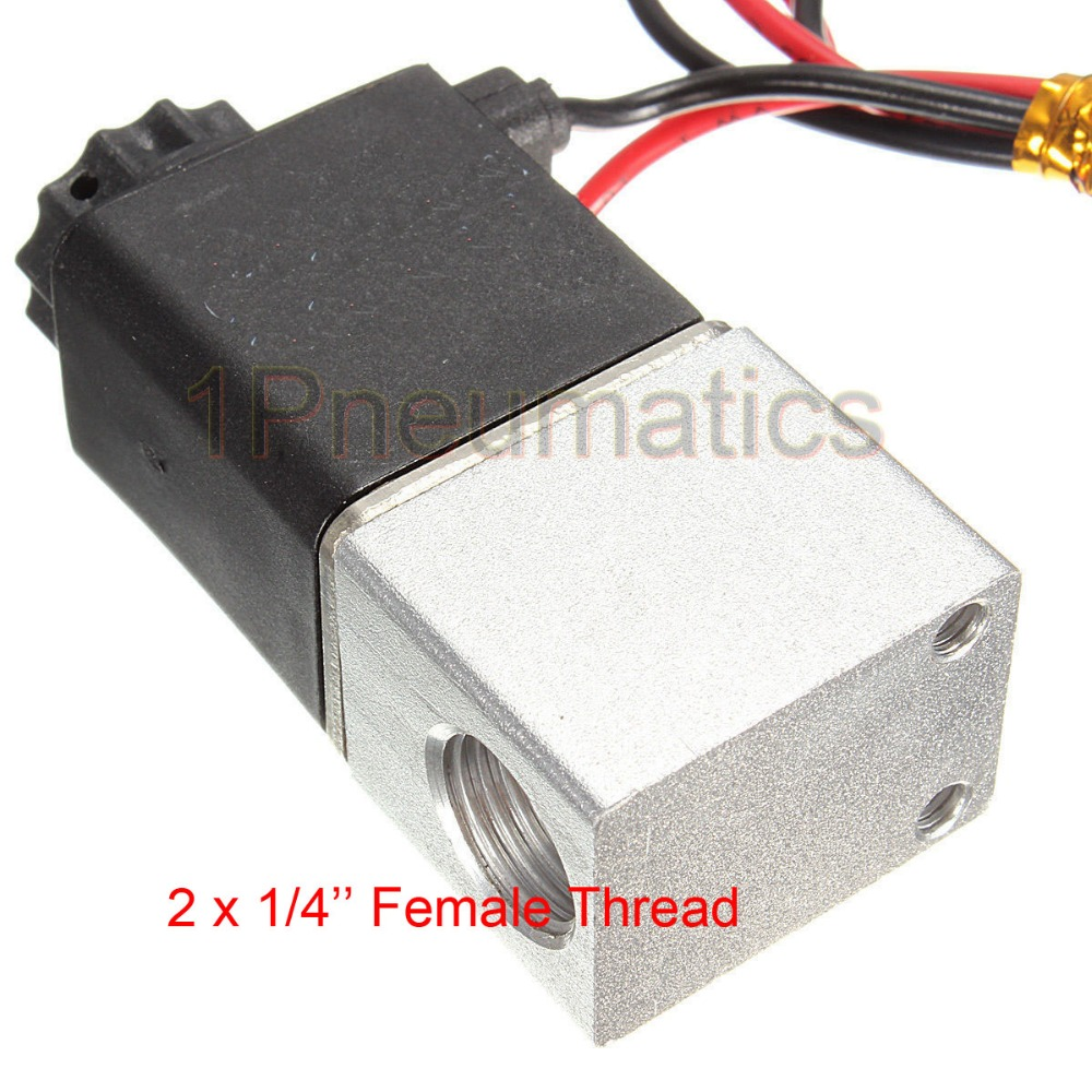 Free shipping 1x 2V025-08 12V DC 2Port 2Pos 1/4 BSP Normally Closed Solenoid Valve w Wire Lead Coil