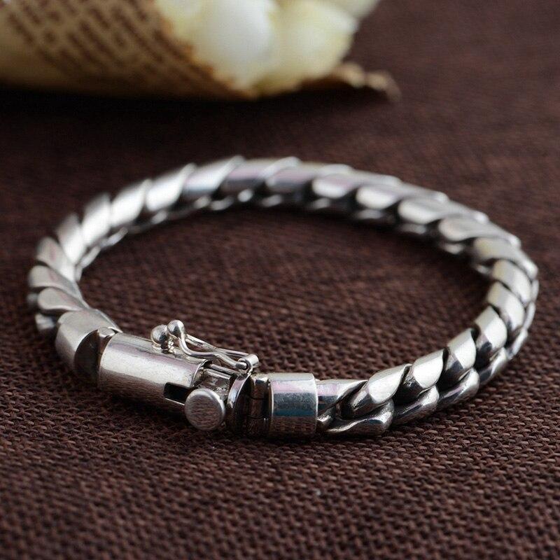FNJ pur 925 Bracelet en argent Punk lien chaîne S925 Thai argent 21-23 cm longueur Bracelets pour hommes bijoux