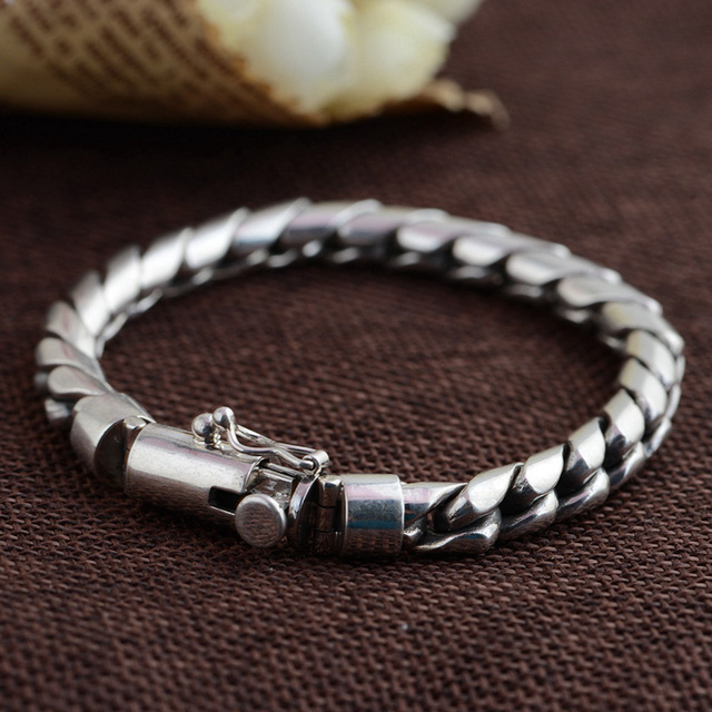 GZ Pure 925 Silver Bracelet Punk Link Chain S925 Thai Silver 21-23cm Length Bracelets for Men Jewelry