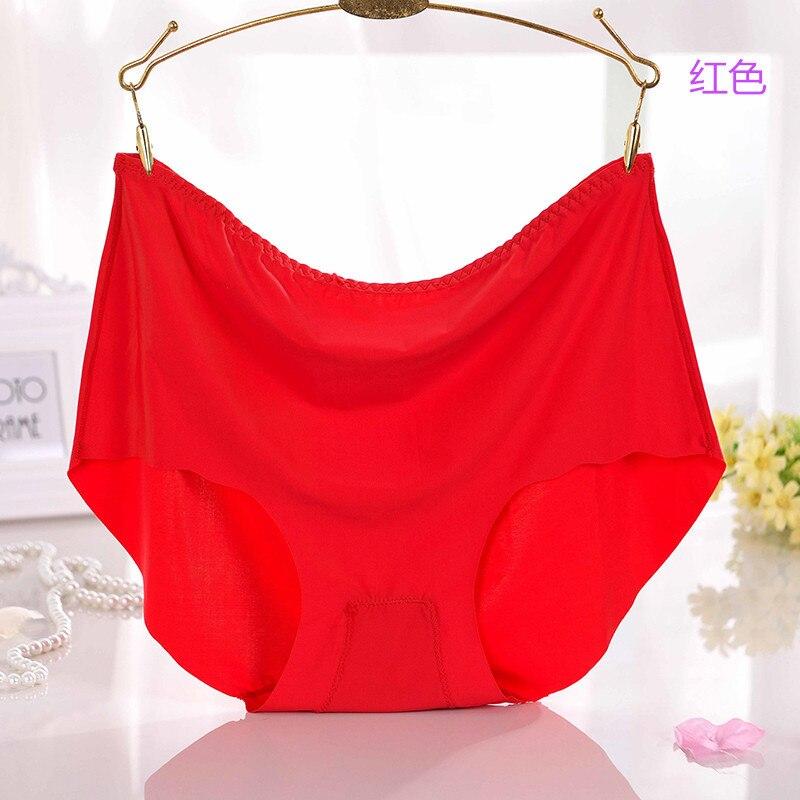 KJA266 Women high waist underwear briefs female ice silk seamless Intimates ladies plus-size lingerie   panties   Culotte Femme 7XL