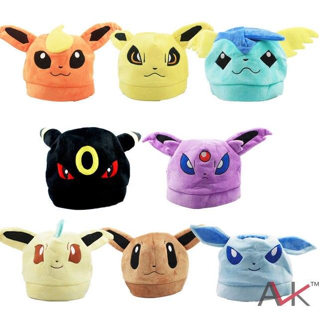 52d871435e1 Cartoon plush toys Eevee Snorlax Winter Hats Pikachu Cosplay soft Plush Cap  kawaii Plush Hat for bay girl