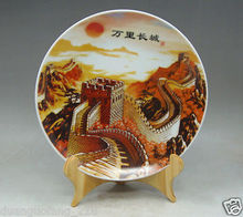 Collectible Chinese Famille Rose Porcelain painting china Great Wall Plate&Base great china wall футболка