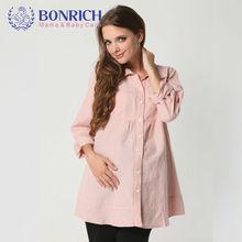 2017 Autumn Maternity clothes Loose Long Sleeve Shirt European Style Cotton Linen Casual Blouses Fashion tops Plus Size BX33390