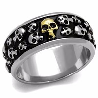 New Coming Super Special Skeleton design Men Rings Two-Tone IP Gold Stainless Steel High Polishing Black Epoxy Fashion Rings