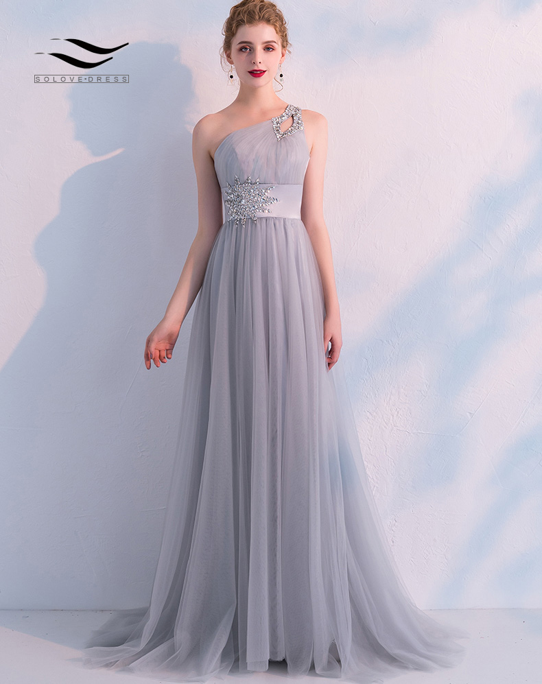 Floor Length Elegant Long Beaded Gown Vintage One Shoulder A-Line Princess Tulle Prom Dress 2019 vestido de noiva SL-S011