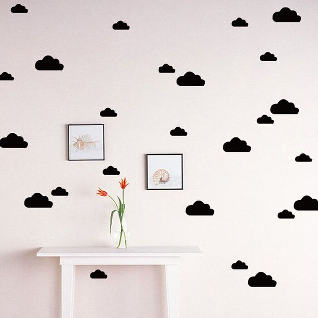 Diy removable small home children decor free shipping cloud wall decal stickers baby nursery bedroom vinyl