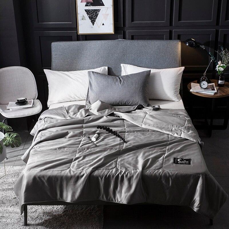 Comforter di seta copriletto trapuntato coperta estate inverno re regina full size twin duvet biancheria da letto set di colore puro oro bianco