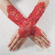 Новые сексуальные вечерние атласные перчатки без пальцев с жемчугом