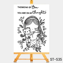 AZSG Lovely girl and cat Clear Stamps For DIY Scrapbooking Rubber Stamp/ Seal Paper Craft Stamp Card Making