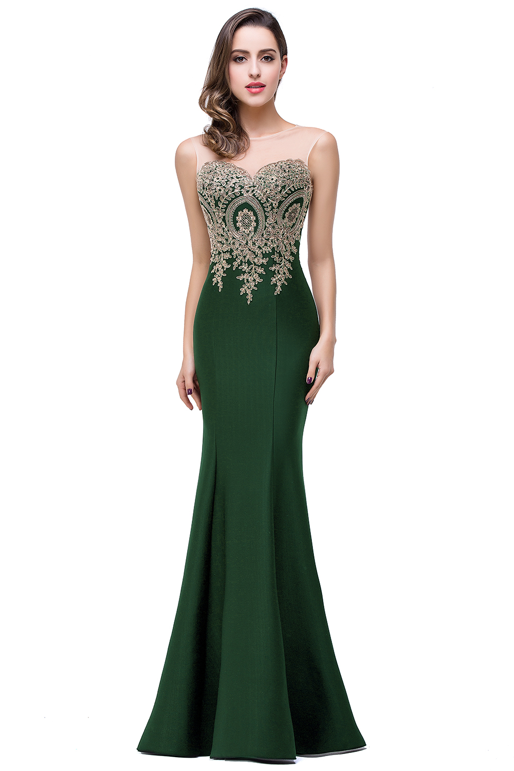 Elegant Appliques Lace Long Mermaid Bridesmaid Dress