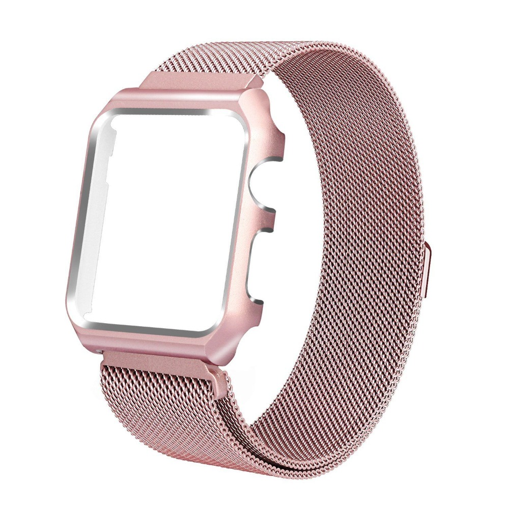OSRUI Milanese Loop Strap+Case For Apple Watch band 42mm 44mm iwatch band 38mm 40mm Link Bracelet Wrist Watchband AccessoriesOSRUI Milanese Loop Strap+Case For Apple Watch band 42mm 44mm iwatch band 38mm 40mm Link Bracelet Wrist Watchband Accessories