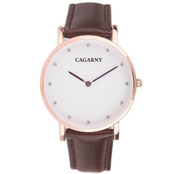 Prix pour Femmes montre Cagarny d'affaires décontractée étanche ceinture en cuir quartz montre diamant marque montres Relogio Masculino