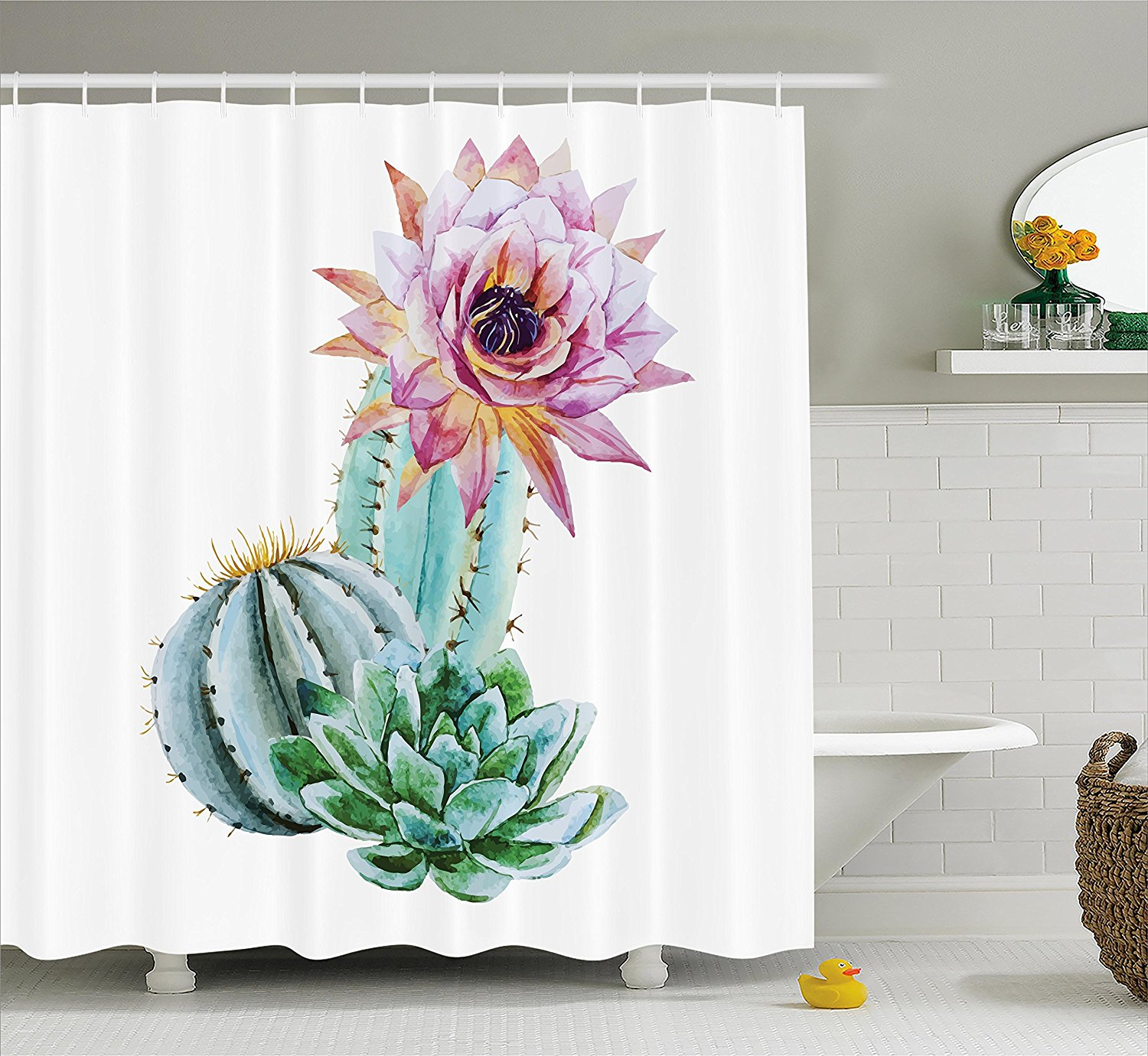 Us 14 17 38 Off Cactus Decor Shower Curtain Cactus Spikes Flower In Hot Mexican Desert Sand Botanic Natural Fabric Bathroom Decor Set In Shower