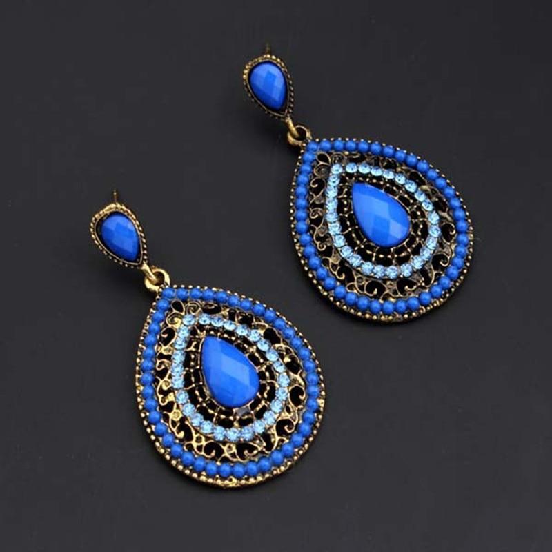 Exknl Long Ethnic Luxury Dangle Vintage Red Boho Big Crystal Drop Earrings Bohemian Blue Women Wedding Earrings Jewelry