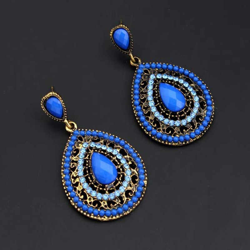 Exknl Long Ethnic Luxury Dangle Vintage Red Boho Big Crystal Drop Earrings Bohemian Blue Women Wedding Earrings Jewelry