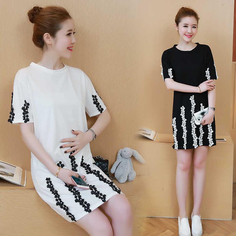 ... Летняя корейская мода Causual Средства ухода за кожей для будущих мам  Платья для женщин Хлопок Очаровательная ... 4a784b9edd2