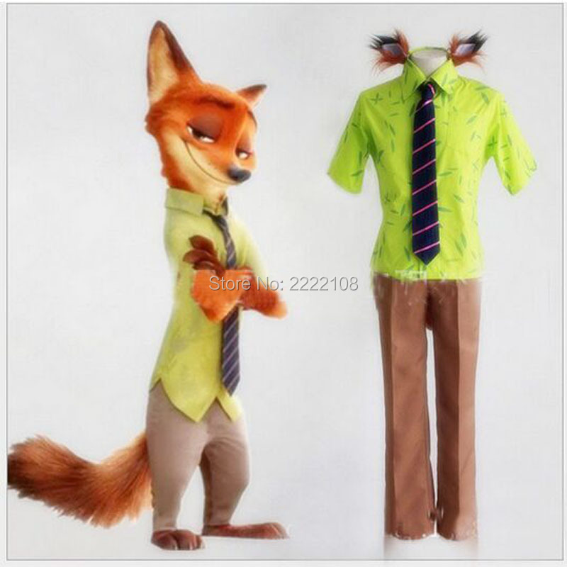 2016 new Cheap halloween party Adult Zootopia Nick Wilde Fox Cosplay Costume Uniform Outfit Suit Shirt Pants Tie ear long tail