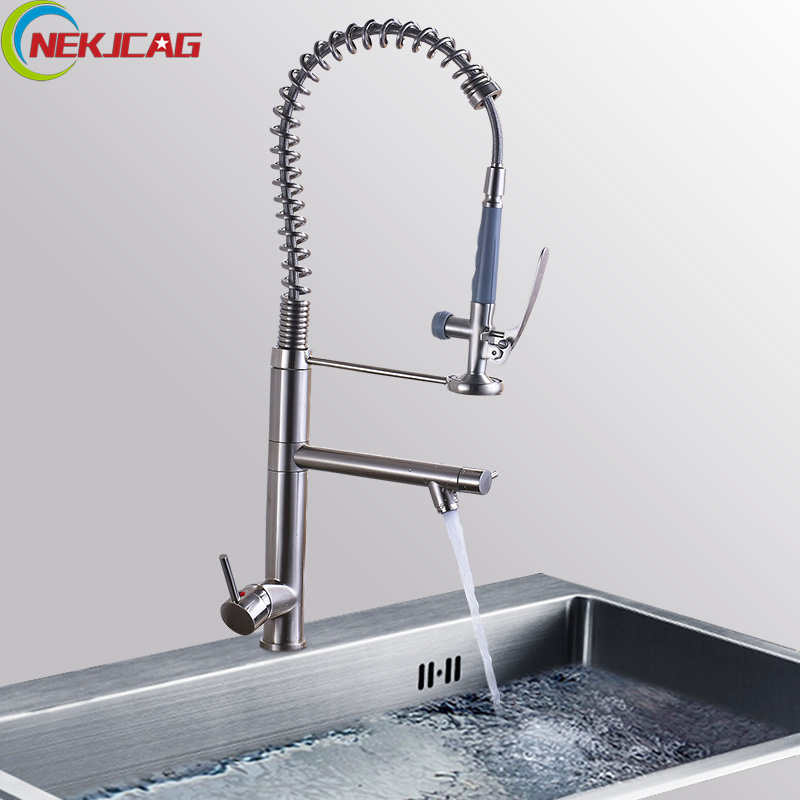 Kitchen Faucet Spring Style 360 Degree Rotation Kitchen Faucets Brushed Nickel Deck Mounted Sink Faucet Tap with Brass Sprayer kemaidi fashion deluxe kitchen faucet mixer tap deck mounted kitchen faucet nickel brushed brass material kitchen taps