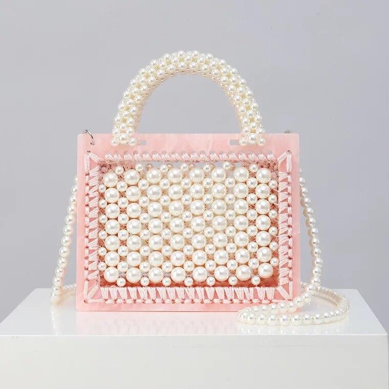 Travel-Bag Totes Bead-Handle Clutches Acrylic-Box Bolsos Pearl Shoulder Pink Party Women
